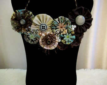 Unique OOAK Bib Style Necklace -Fabric Rosette Bib Necklace - Statement Necklace - Unique Handmade Necklace - Made and Ready to Ship!