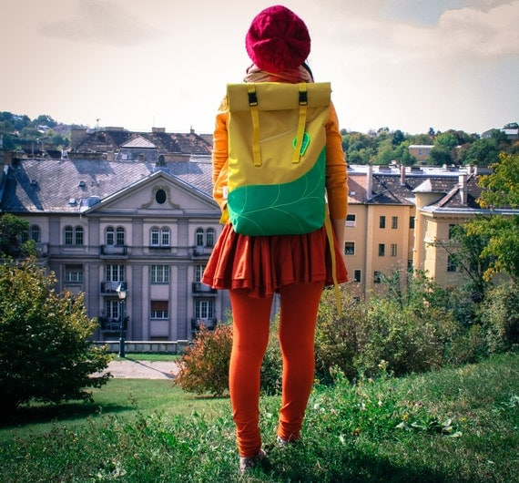 Leaf Rolltop Backpack, Waterproof Canvas Backpack, Laptop Backpack, Hipster Backpack,Travel Backpack / Yello&Green