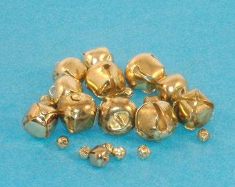 Assorted Bright Brass Plated Jingle Bells - 18mm-6mm - Total 22 Bells - Christmas DESTASH