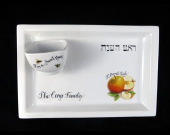 Personalized Hand Painted Judaica Rectangular Apple Plate with Honey Bowl