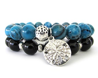 Blue Crazy Lace Agate Bracelet Stack - Women's Bracelets - Bracelet Set - Beaded Stretch Bracelets - Charm Bracelet - WS1917