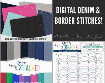 Digital Denim & Stitches Clipart Set