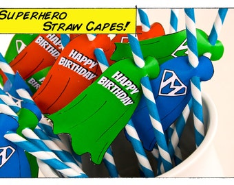 Super Hero Comic Book Party Straw Capes- Printable- Personalized