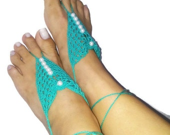 Green crochet with white beads Barefoot Sandals, Nude shoes, Foot jewelry, Wedding, Victorian Lace, Sexy, Lolita, Yoga, Anklet
