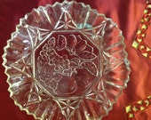 Vintage Bowl  Ribbed Sides With Grapes, Apples On The Bottom Heavy