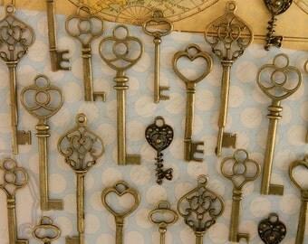 set of 30 skeleton keys steampunk key wedding favor jewelry supply wholesale bronze old keys skeleton key set clé ancienne schlüssel