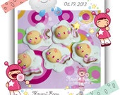 """Kawaii Egg """"Charm, Bead, Scrapbooking, Bow Center ,Pendant""""  """"handmade in cold porcelain clay"""""""
