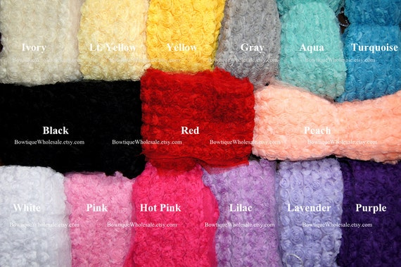 """18"""" CHIFFON ROSETTE FLOWERS """"Pick Colors"""" - White, Ivory, Pink, Hot Pink, Red, Lavender, Purple, Black"""