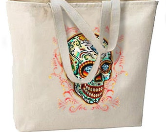 Diamond Eyes Sugar Skull New Large Tote Bag Travel Events Day of the Dead