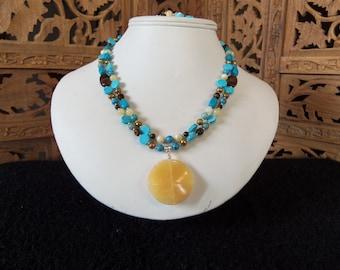 Turquoise Necklace Set, Women's Necklace Set, Gemstone Necklace Set