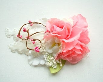 Pink Rose Bridal Hair Comb, Pink Hair Weddings Accessories, Bride Bridesmaids Headpiece, Shabby Chic, Pastel Pale Pink White, Bridal sash