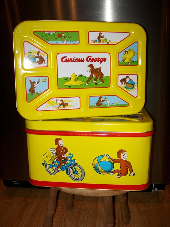Curious George Tin Toy Chest Storage Box For Craft Supplies