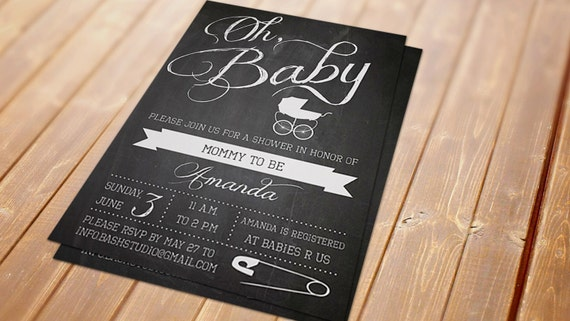 Baby Carriage Chalkboard Printable Invitation - Baby Shower, Gender Reveal
