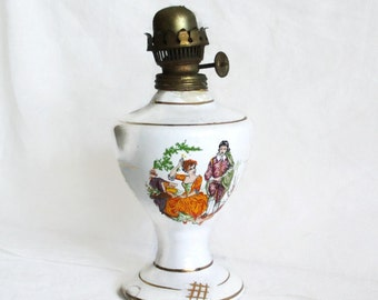 Vintage kerosene lamp, Courting couple, ceramic bottle, oil lamp, colorful graphics, metal Turkish burner, flat wick, lighting, porch decor