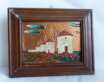 Rhodes, Mandraki Harbor windmills. Vintage copper picture, wooden framed, wall hanging. Greece. Old town souvenir. Aegean Sea, Mediterranean
