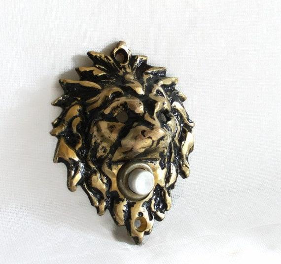 Lion Head Door Bell Push Button Vintage Cast Brass Doorbell