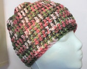 beanie crocheted hat pink camo rose, warm, FREE SHIPPING beautiful scarf
