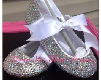Crystal Rhinestone Ballet Flats Shoes - Wedding- Pageant -Christening - Baptism - Flower Girl - Junior Bride - Toddler and Youth Size Shoes