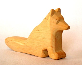 Little Cute Fox, Waldorf Toy, hand carved, wooden animals