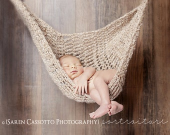 Crochet Large Baby Hammock, Newborn Photography Prop comfy modern classic sling