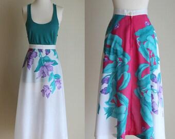 SALE: Vintage 80s Floral Midi Skirt - Hot Pink and White Tropical Print Summer Skirt - Full Skirt - High Waisted Long Skirt - Size Medium