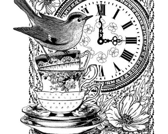 Unmounted Red Rubber Stamp - Crafty Individuals - Made in UK - Teacups - Bird - Clock - 3 x 4 in - Collage - Vintage Inspired