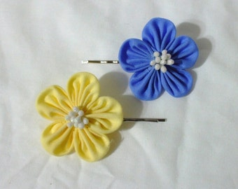 Blue or yellow pleated kanzashi flower - choose one