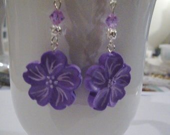 Purple Cherry Blossom Earrings