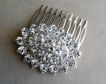 Silver hair comb, Wedding hair comb, Art deco headpiece, art deco comb, bridal comb, headpiece hair comb crystal hair, OVAL SILVER