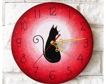 Love Black Cat Wall Clock (Pink), Modern wall clock with numbers, wood clock, white home decor, kids gift, wedding gift