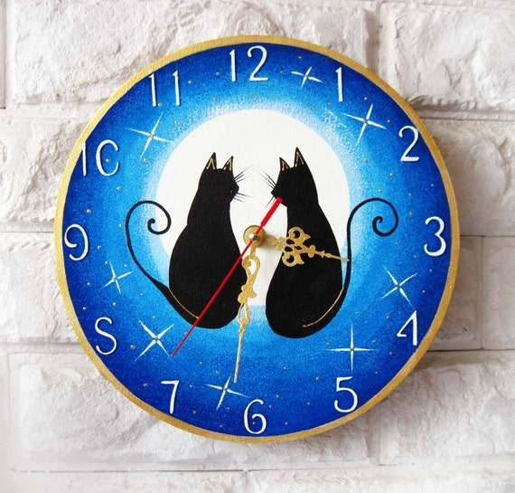The love cats, Modern wall clock with numbers, White wall clock, wood clock, white home decor, kids gift, wedding gift.