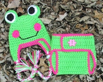 Baby Girl Frog Hat and Diaper Cover Set, Crochet Frog Hat and Diaper Cover, Frog Photo Prop, Diaper Cover Hat Set, Infant Diaper Cover Set