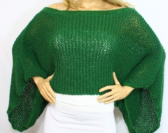Hand Knit Cozy Emerald Long Sleeve Cropped Sweater Shrug Wrap Shawl Bolero for Cold Winter's by ARZUS