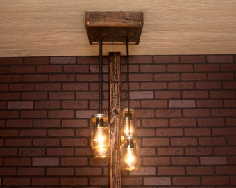 Ceiling light/ Mason Jar Chandelier/ Reclaimed Wood and 4 Pendants/  R-1212-CMJ-4