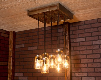 Dining Room Lighting, Mason Jar Chandelier With Reclaimed Wood and 7 Pendants. R-1818-CMJ-7