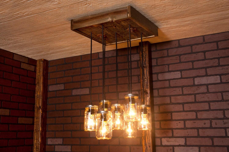 dining room lighting jar chandelier with reclaimed wood