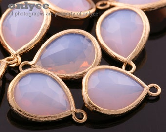 2pcs-18mmX11mm Gold plated Brass Faceted long teardrop glass pendants-ice White(M302G-D)