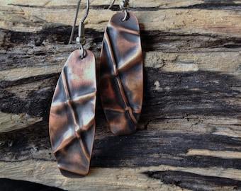 Fold formed copper or brass metalwork earrings