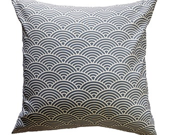"""One 16"""" Square Pillow Cover - Scalloped Navy"""