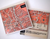 1953 Luxembourg Map Handmade Vintage Map Coasters - Ceramic Tile Coasters set of 2 - Repurposed 1950s Travel Book - OOAK Coasters