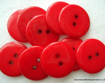 23mm Red Resin Button Pack of 12 Large Red Buttons A112