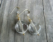 Gold Crystal Clear Dangle Earrings with Swavorski crystals.   Gift for Her.