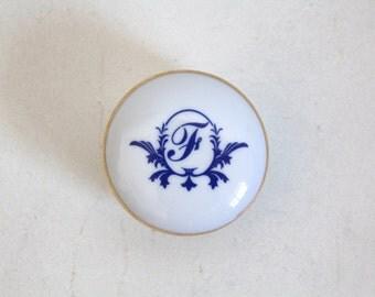SALE 50 OFF Monogram Vintage Trinket Box Porcelain Letter F Jewelry Box