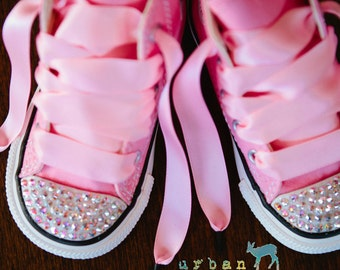 Infant, Toddler Baby Girl High Top Pink Converse® All Star® Chuck Taylor's® With Pink Ribbon Laces & Swarovski® Bling Crystal Rhinestones