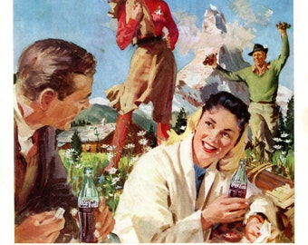Swiss Alps Picnic Coke Ad Vintage 1950s Coca Cola Switzerland Travel Tourism Mountains Young Couples