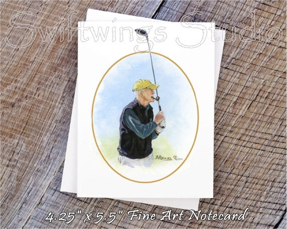 Men's Golf Cards - Golf Notecards - Golf Art - Golf Gifts - Men's Golf Gifts - Golf Paintings - Golf Prints
