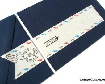 airmail wraparound address labels - personalized - banner style - destination wedding invitation - set of 12