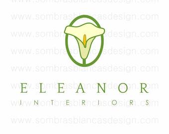 OOAK Premade Logo Design - White Calla Lily - Perfect for a florist or interior designer