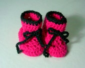 Baby Booties Crochet Slipper Infant Hot Pink