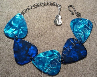 Ocean Themed Aqua and Blue Guitar Pick Bracelet